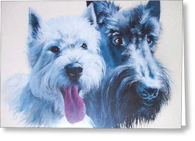 Westie And Scotty Dogs Greeting Card
