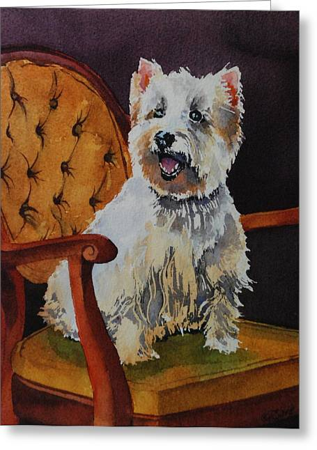 Westie Angel Dusty Greeting Card by Donna Pierce-Clark