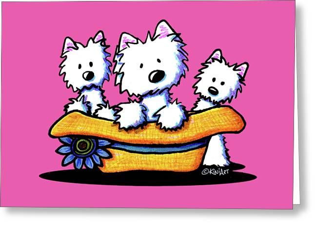 Westie Hat Trio Greeting Card