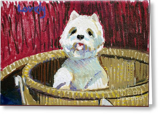 Westie In Basket Greeting Card by Candace Lovely