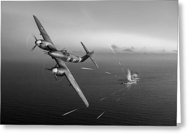 Westland Whirlwind Attacking E-boats Black And White Version Greeting Card by Gary Eason