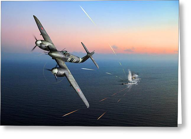 Westland Whirlwind Attacking E-boats Greeting Card by Gary Eason