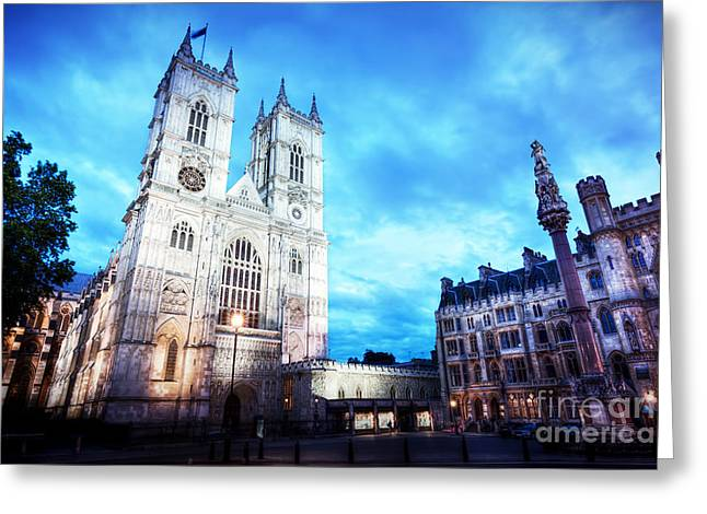 Westminster Abbey Church Facade At Night, London Uk. Greeting Card by Michal Bednarek