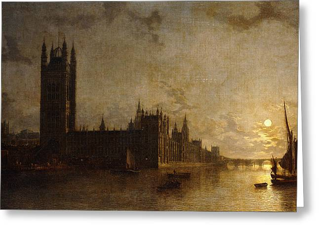 Westminster Abbey, The Houses Of Parliament With The Construction Of Westminster Bridge Greeting Card by Henry Pether