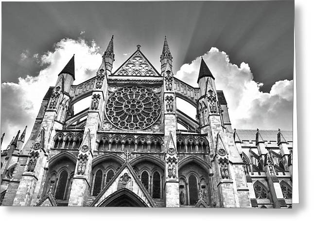 Westminster Abbey Under The Clouds And Rays Greeting Card