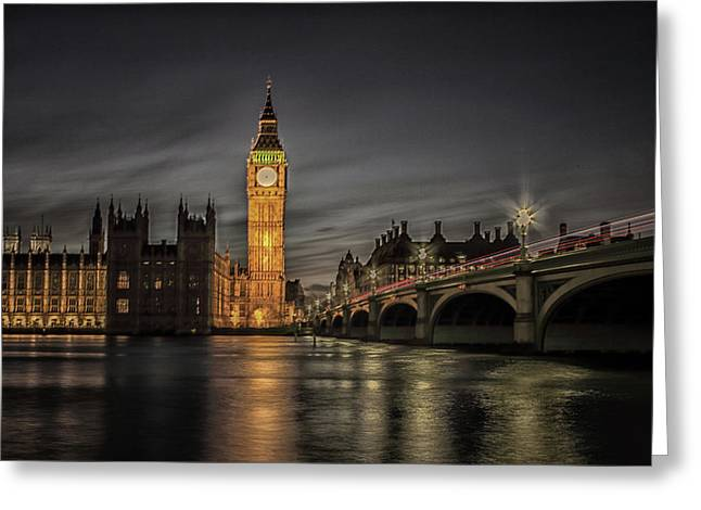 Westminster At Night Greeting Card by Martin Newman