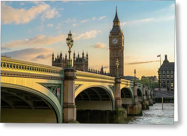 Westminster Bridge At Sunset Greeting Card