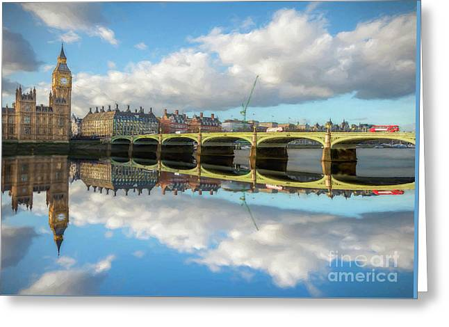 Westminster Bridge London Greeting Card by Adrian Evans