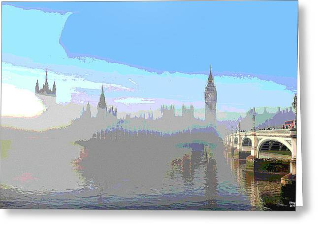 Westminster In The Fog Greeting Card by Charles Shoup