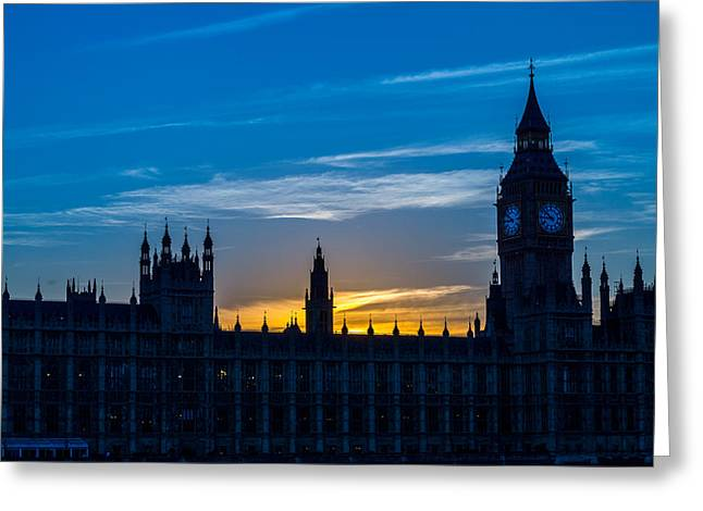 Westminster Parlament In London Golden Hour Greeting Card