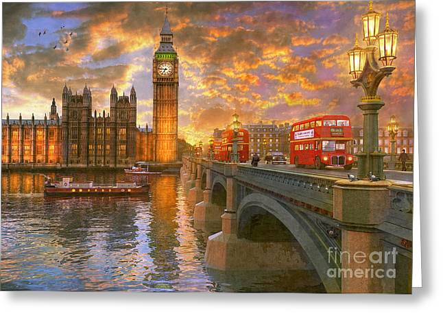 Westminster Sunset Greeting Card by Dominic Davison