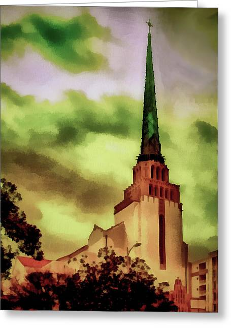 Westwood Methodist Steeple Greeting Card by Joseph Hollingsworth