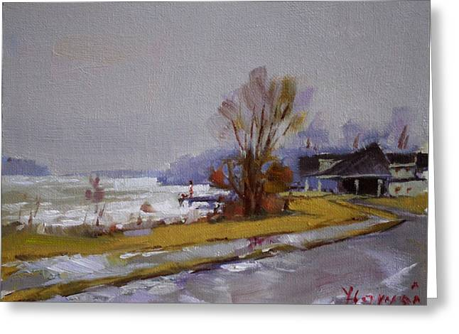 Wet And Icy At Gratwick Waterfront Park Greeting Card by Ylli Haruni