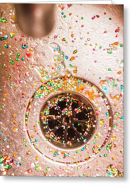 Wet Bright Confetti Scattered In Sink Greeting Card by Jorgo Photography - Wall Art Gallery