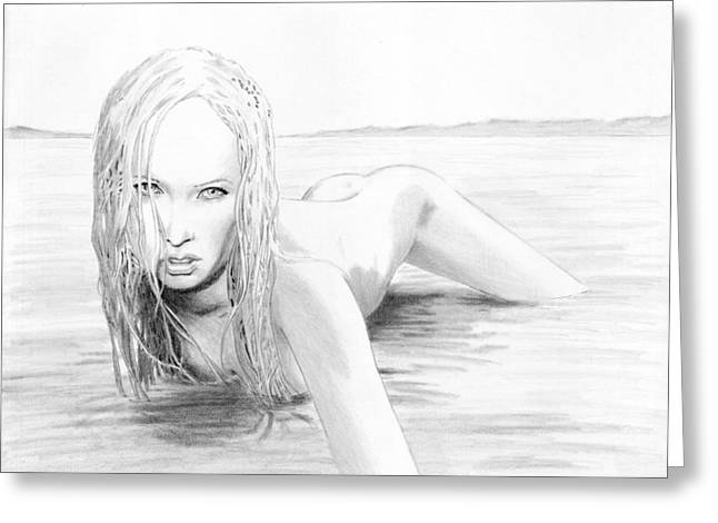 Burton Drawings Greeting Cards - Wet Greeting Card by David Burton