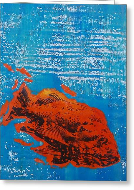 Wet Fish Greeting Card by Kim Quinn Nicholson