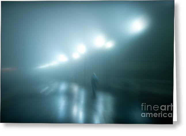 Wet Foggy Night Greeting Card by John Greim