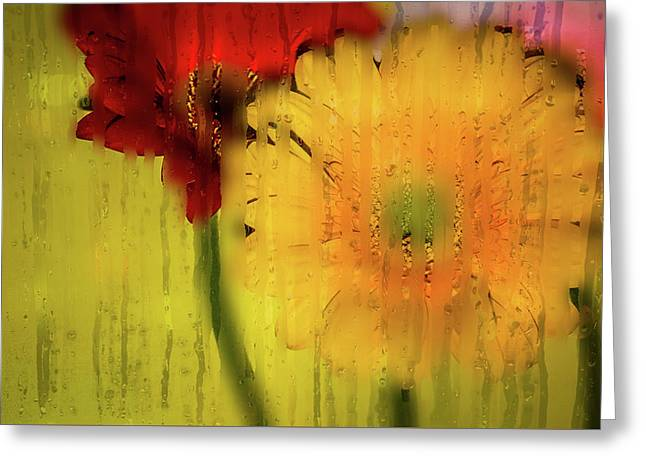Wet Glass Flowers Greeting Card