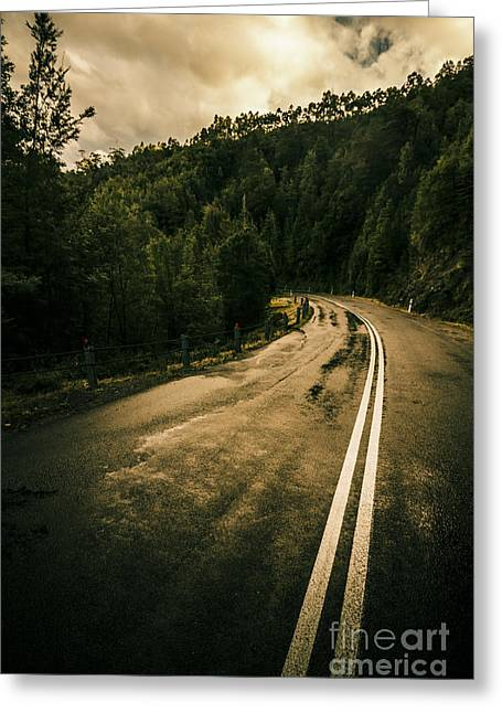 Wet Highland Road Greeting Card by Jorgo Photography - Wall Art Gallery
