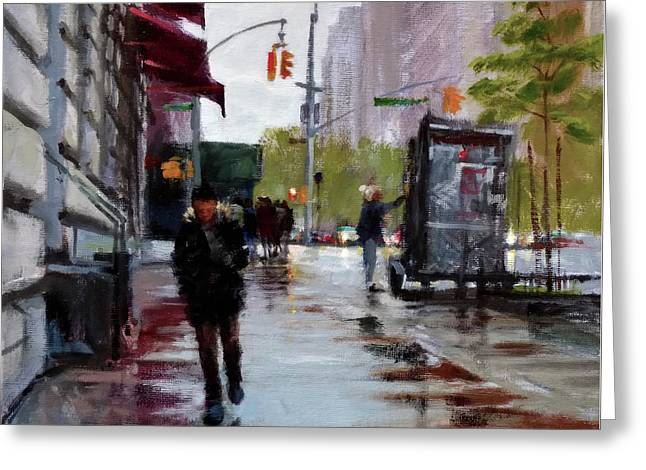 Wet Morning, Early Spring Greeting Card by Peter Salwen