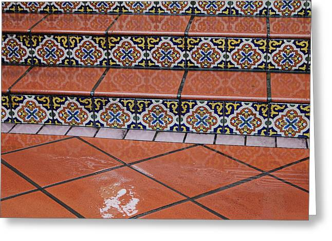 Wet Tile Steps Greeting Card by Jean Booth