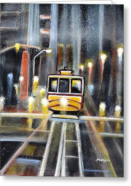 Wet Tram California Greeting Card
