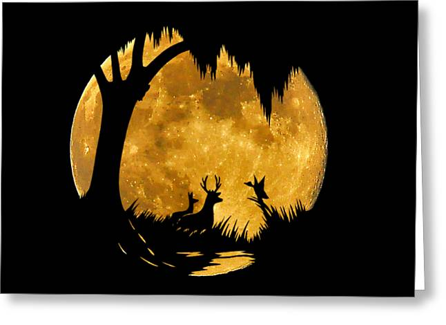 Wetland Wildlife Massive Moon .png Greeting Card