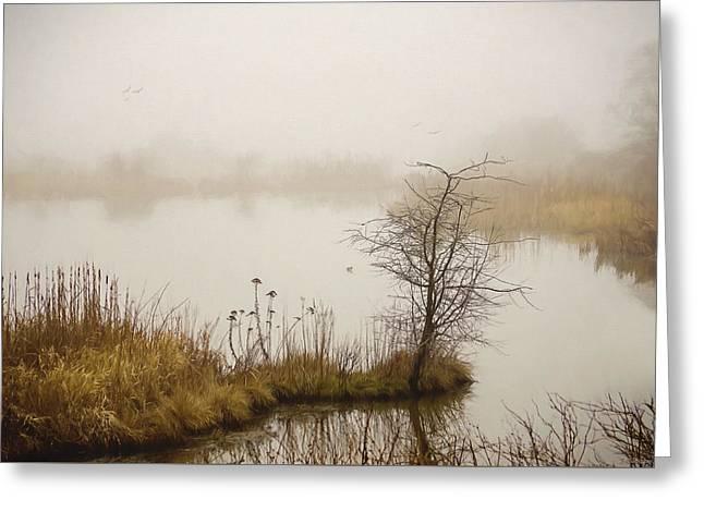 Greeting Card featuring the painting Wetland Wonders Of Winter by Jordan Blackstone