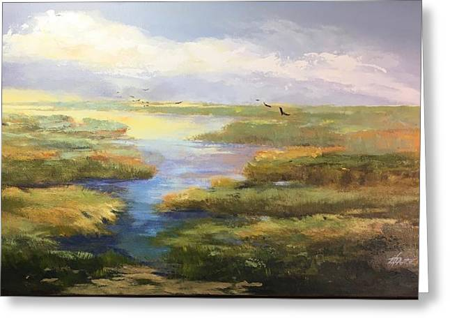 Greeting Card featuring the painting Wetlands by Helen Harris