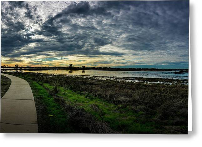 Wetlands Sunset Panorama Greeting Card