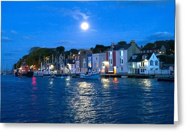 Weymouth Harbour, Full Moon Greeting Card