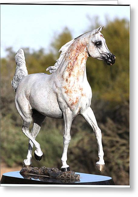Wh Justice Arabian Stallion Bronze Sculpture Greeting Card by J Anne Butler