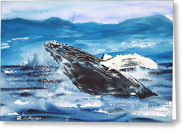 Spectacular Paintings Greeting Cards - Whale Breaching Greeting Card by Tanya L Haynes - Printscapes