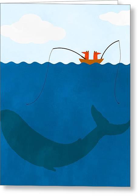 Whale Fishing Nursery Art Greeting Card
