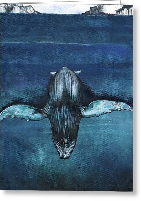 Greeting Card featuring the mixed media Whale IIi by Anthony Burks Sr