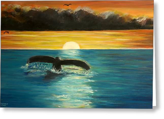 Whale Tail At Sunset  Greeting Card