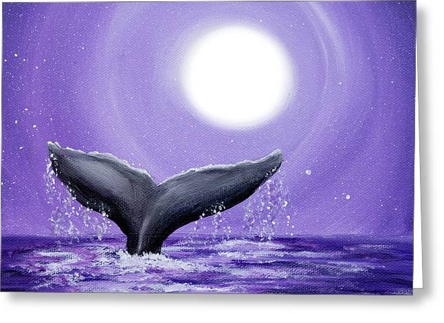 Whale Tail In Lavender Moonlight Greeting Card