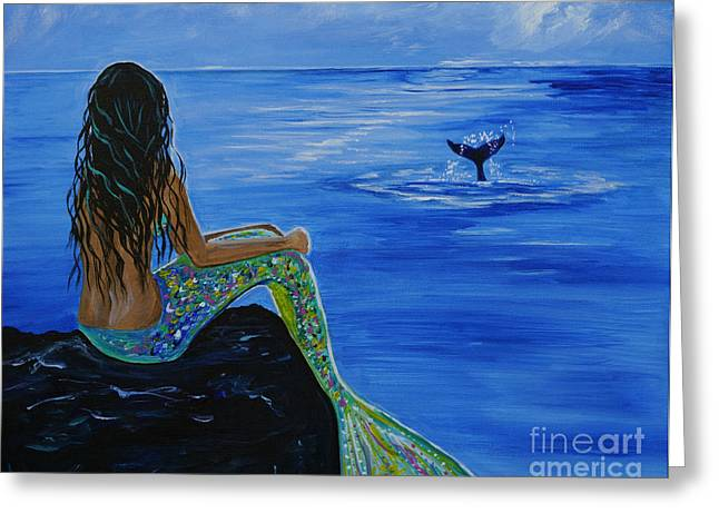 Fin Greeting Cards - Whale Watcher Greeting Card by Leslie Allen