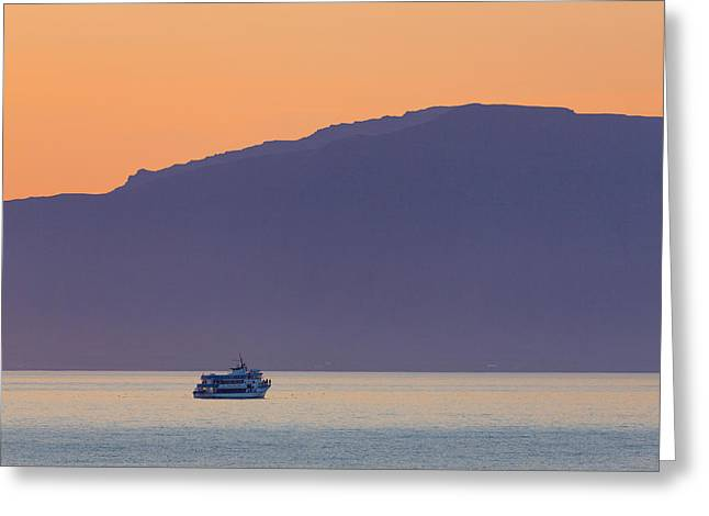 Whale Watching Boat Under The Midngight Greeting Card by Panoramic Images