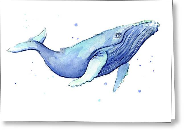 Whale Watercolor Humpback Greeting Card by Olga Shvartsur