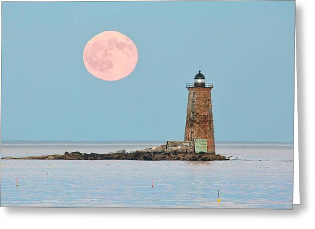 Whaleback Blue Moon Greeting Card by Eric Gendron