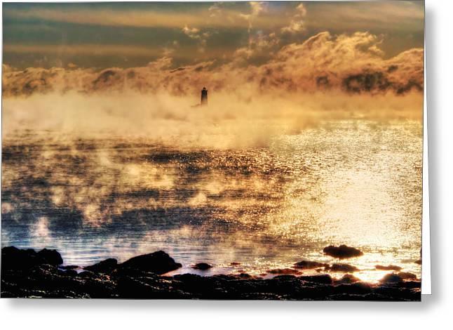 Whaleback Lighthouse Golden Sunrise - Maine Greeting Card by Joann Vitali