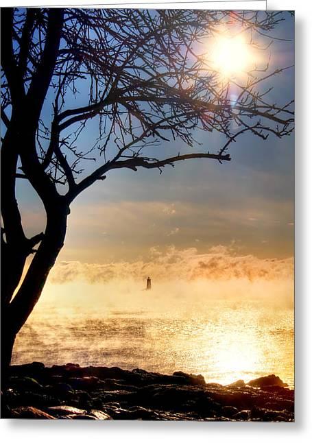 Whaleback Lighthouse Sunrise With Sea Smoke. - Maine Lighthouse Art Greeting Card