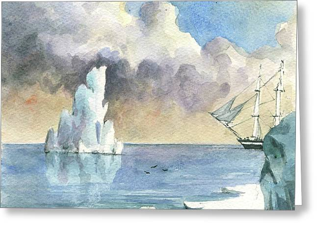 Whaler On Ice Greeting Card