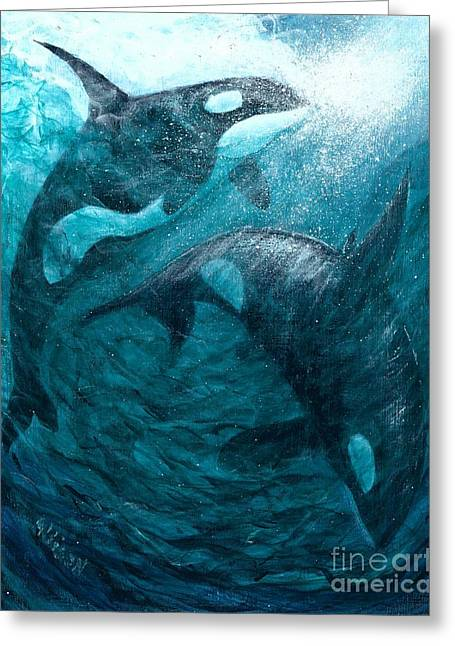 Whales  Ascending  Descending Greeting Card
