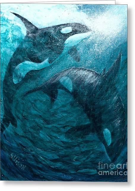 Whales  Ascending  Descending Greeting Card