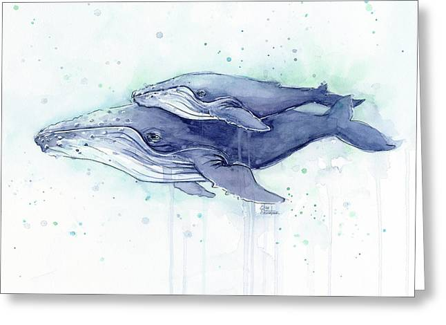 Whales Humpback Watercolor Mom And Baby Greeting Card by Olga Shvartsur