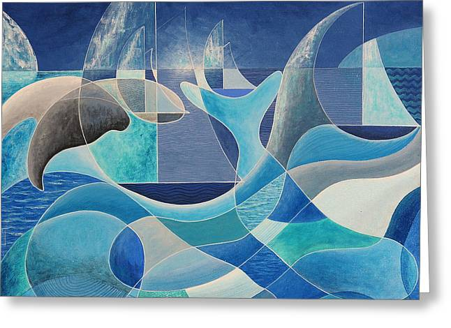 Whales In The Midnight Sun Greeting Card
