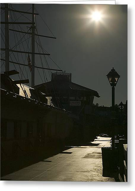 Wharf At Night Greeting Card by Clyde Replogle