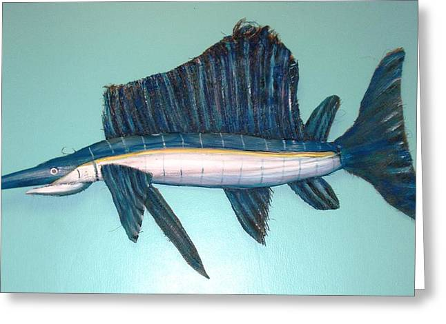 Swordfish Mixed Media Greeting Cards - What a Catch Greeting Card by Ellen Burns